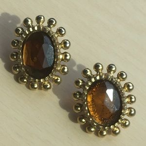 Vintage amber glass earrings